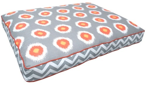 large dog bed, fiberfill, soft, gray, orange, ikat