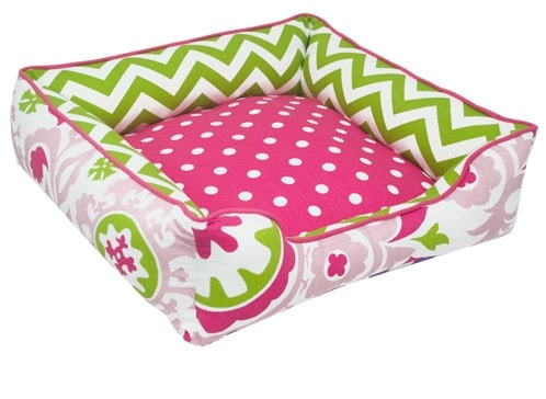 small girly dog bed, pink, green