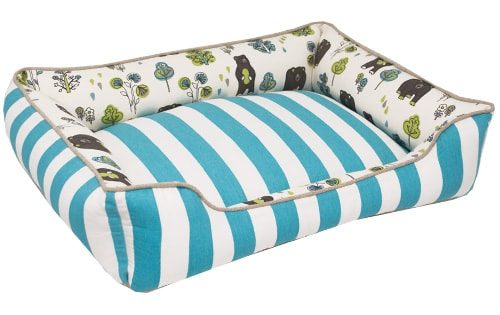 bolster pet bed, cat bed, dog bed, blue, honey bears, bear fabric, stripe